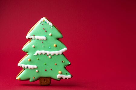 gingerbread cookie of green Christmas Tree on red background. Traditional Christmas food. Christmas and New Year holiday concept. Copyspace. Reklamní fotografie