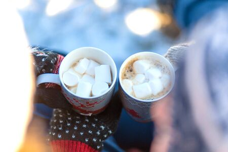 Young couple in love drink a hot drink with marshmallows, sitting in the winter in the forest, tucked in warm, comfortable rugs and enjoy nature. They talk and laugh for a cup of coffee Stock fotó