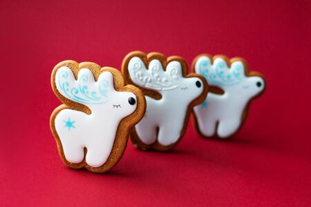 gingerbread cookie of little cute deer on red background. Traditional Christmas food. Christmas and New Year holiday concept Reklamní fotografie