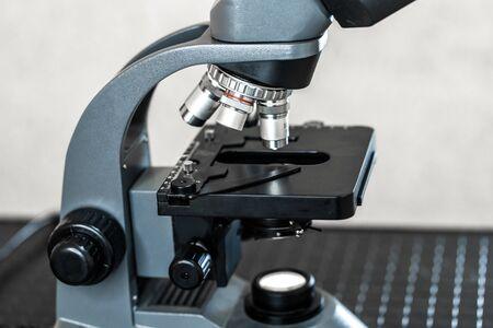 modern portable microscope in the laboratory.