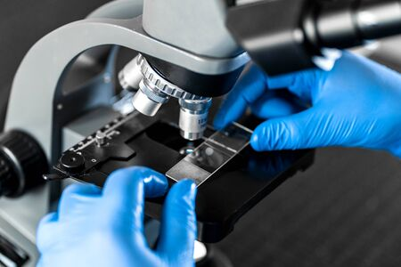 Male laboratory assistant examining biomaterial samples in a microscope. Cllose up hands in blue rubber gloves adjust microscope.