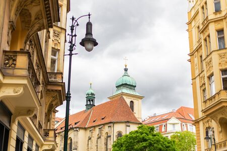 The architecture of the old city of Prague. Ancient buildings, cozy streets