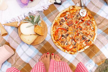 Pizza and cheese platter on a checkered bedspread. Summer picnic.