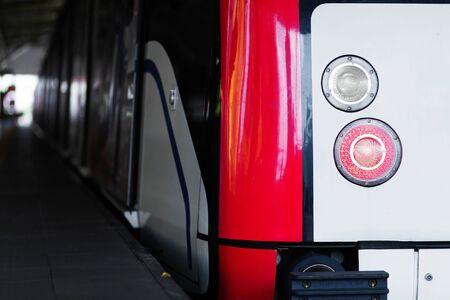 Modern metro car close-up. City transport. Stock Photo
