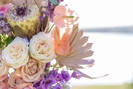 Close-up decoration with fresh flowers of venues Stok Fotoğraf