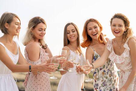 La compañía de amigas disfruta de un picnic de verano y levanta copas con vino.