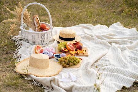Stylish summer picnic on a white blanket