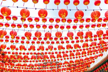 Festive New year decorations with Chinese red lanterns of the Chinese temple.
