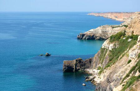 The landscape of the rocky shore of the Black Sea