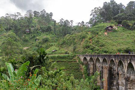 The famous nine-arch bridge of the railway in the jungle in Sri Lanka.