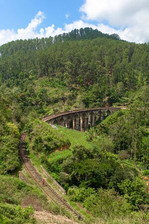 The famous nine-arch bridge of the railway in the jungle in Sri Lanka. Stock Photo