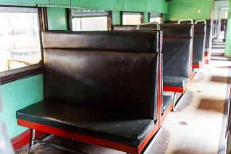 Interior of a passenger train carriage in Sri Lanka. Old and dirty wagon. Reklamní fotografie