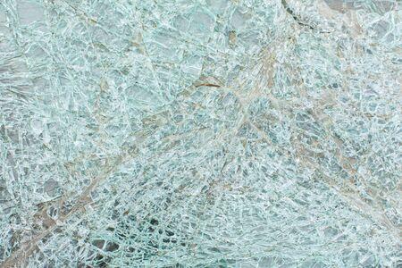 Broken car glass after an accident.