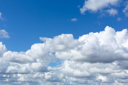 Incredibly beautiful fluffy clouds on a sunny spring day