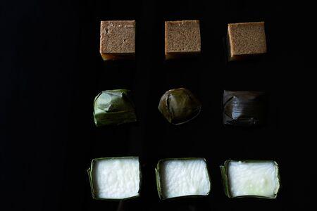 Malaysian food. chocolate jelly, kuih koci, and kuih tepung pelita Stock Photo