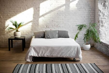 Simple modern bedroom interior with living flower near the bed.