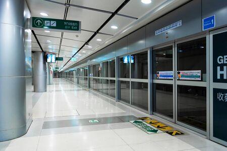 Modern clean subway station in Bangkok close up.