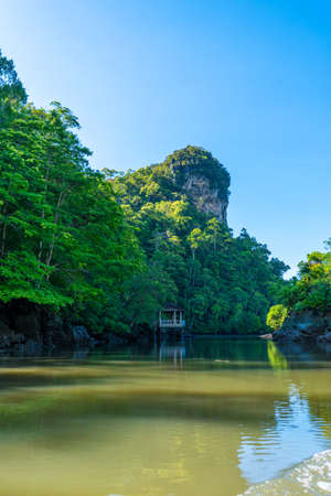 Wonderful natural landscape of Asia. View from the wide river to the forest and the mountain.