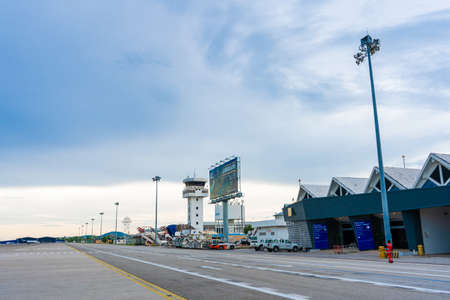 Airport buildings on the island of Langkawi. View from the runway.