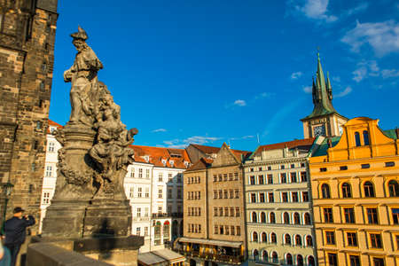 The architecture of old Europe. Colorful low rise stylish buildings. Urban landscape. 新聞圖片