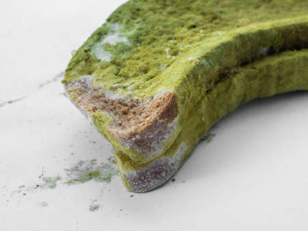 A piece of bread covered with green mold on a white background isolate.