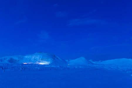 Pre-dawn mountain landscape in Iceland. Unusual light 免版税图像