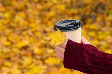 A cozy warm photo of a craft cup of hot coffee in hands against a background of fallen yellow leaves. Archivio Fotografico
