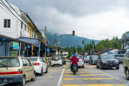 City street view in the mountains of Malaysia. View of the mountain in the clouds. Redakční