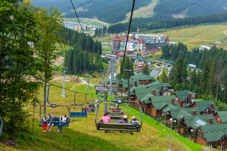 Summer day view of ski elevator in mountains.