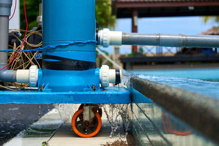 A filter pump cleans the pool water. Device for automatic cleaning of swimming pools.