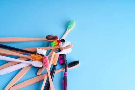 Bunch of toothbrushes. Choosing toothbrush. Oral hygiene. 写真素材