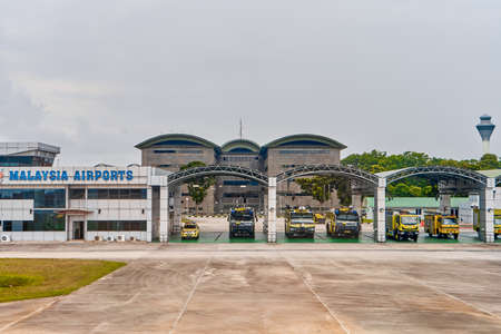 Fire department and emergency parking at the airport. Langkawi, Malaysia - 06.20.