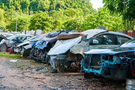 Parking of damaged cars after an accident. Langkawi, Malaysia - 06.20.