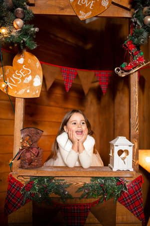 Girl salesman at the wooden counter at the Christmas market.