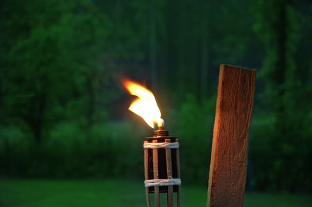 Flare-up and fire on the garden ... evening...