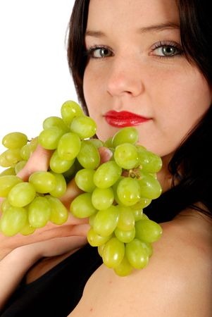 Green grape and nice women, isolated fruit photo