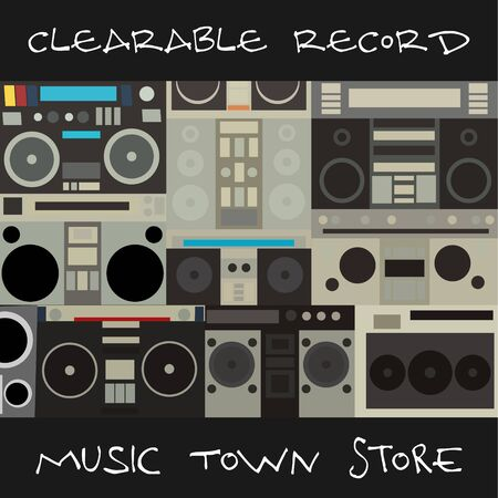 SPEAKERS MUSIC TOWN STORE RECORD AND MUSIC STUDIOS Иллюстрация