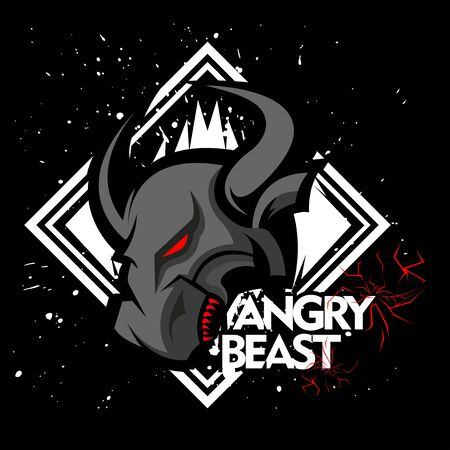 Angry bull or angry buffalo to descriptive the team club and esport team and the other team 向量圖像