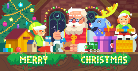 Vector flat-styled Christmas illustration of Santa Claus in a workshop with elves, deer and gifts