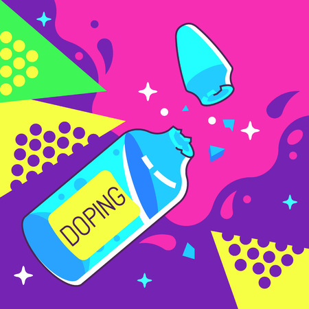 Doping Ampoule Vector Illustration in Pop Art Style. Illustration