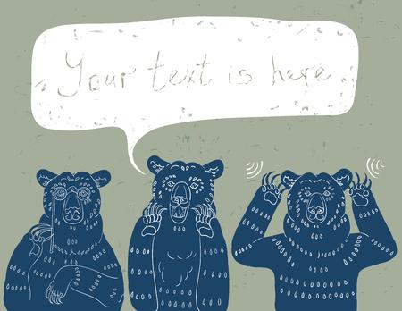 Vector Illustration of Three Wise Bears: See No Evil, Speak No Evil, Hear No Evil. Ilustração