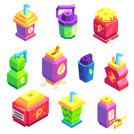 Isometric Vector Icons Set of Sport Drink Bottles and Nutrition Boxes. 向量圖像