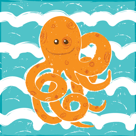 Orange Octopus in a Blue Waves, Vector Illustration painted with brush Çizim