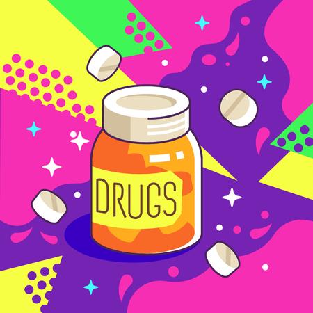 Pharmacy Drugs Jar Vector Illustration in Pop Art Style.