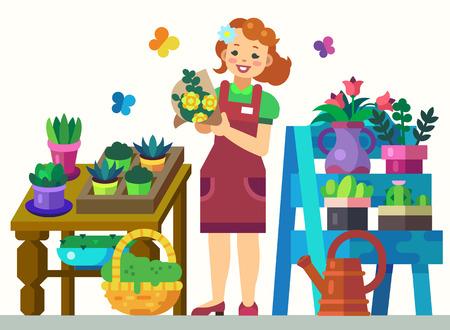 Gardener Girl from Flower Shop with Showcase Equipment