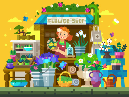 Flower Shop Showcase Illustration