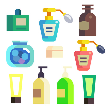 Bottles, Jars and Tubes with Bath Cosmetics in Isolated Icons Set