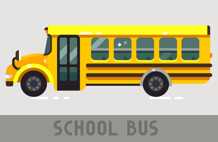 Yellow School Bus in Flat Style Illustration