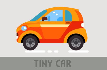 Orange Urban Tiny Car in Flat Style Stok Fotoğraf - 93928196