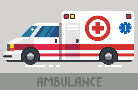 Red and White Ambulance Wagon in Flat Style